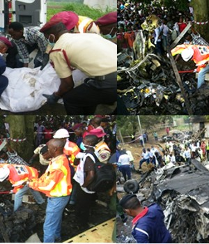 Rescuers at the crash site