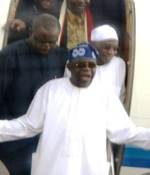 Tinubu, accompanied by Governor Kayode Fayemi and Rauf Aregbesola of Ekiti and Osun States
