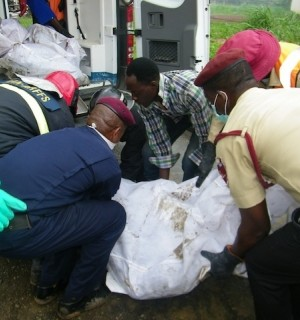 Rescuers at the crash site