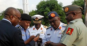 Service Chiefs admiring Covenant University's invention