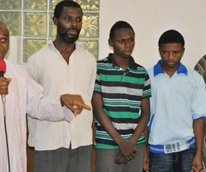 Kogi varsity don (with microphone) other suspects