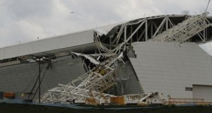 Part of the collapsed stadium