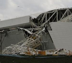 Part of the collapsed stadium