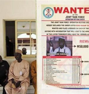 A poster advertising for the search of Boko Haram leader Abubakar Shekau