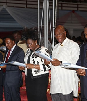 From (right), Deputy Governor, Rivers State, Engr. Tele Ikuru, flanked by Rivers State Governor, Rt. Hon. Chibuike Rotimi Amaechi, wife of the Governor, Dame Judith, SSG, George Feyii at the 2014 Thanksgiving and Dedication Service in Port Harcourt.