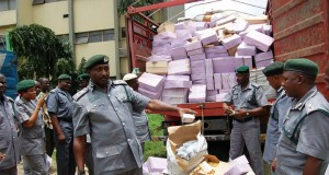 Customs inspecting siezed goods