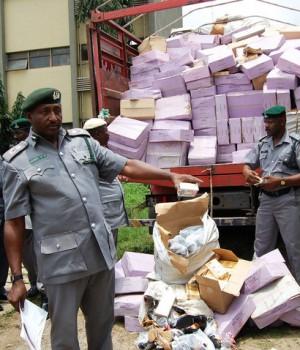 Customs inspecting siezed goods