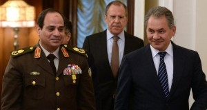 Field Marshal Sisi - with Russia's foreign and defence ministers -