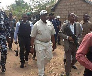 Governor Suswam, right and the Benue state CP Adams Audu inspecting the besieged communities in Guma LGA