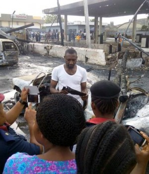 Scene of the fire incident at the Mobil Filling Station on Oba Akran Road, Ikeja,