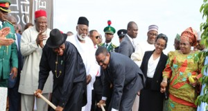 President Jonathan turning the sod for the Centinary project