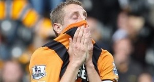 Hull City player bemoaning the club's exit from Premier League