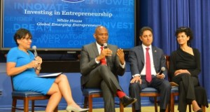Penny Pritzker, US Commerce Secretary, Tony Elumelu, Founder, Tony Elumelu Foundation, Antonio Gracias, Founder and CEO, Valor Equity and Julie Hanna, Founder and CEO, Kiva during the event hosted by US President Barack Obama at the White House on Monday to celebrate Global Emerging Entrepreneurs
