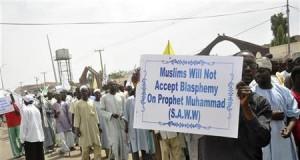 Muslim demonstrators protest