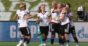 Germans celebrating their victory against Ivory Coast