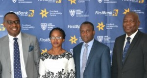 L-R: Ismail Omamegbe, Head, Corporate Responsibility and Sustainability, FirstBank; Dr. Ijeoma Nwagwu, Centre Manager, FirstBank Sustainability Centre; Dr. Kenneth Amaeshi, Director, Sustainable Business Initiative, University of Edinburgh; and Timothy Arowoogun, Group Head, FirstBank at the 'Leading a Sustainable Business' Executive Programme sponsored by the FirstBank Sustainability Centre.