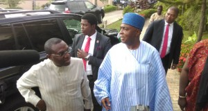 Uba and Saraki arriving for the meeting with Obasanjo