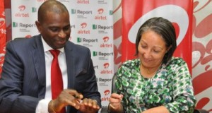 Jean Gough UNICEF Representative in Nigeria with Segun Ogunsanya CEO / MD Airtel Nigeria signing the MOU.