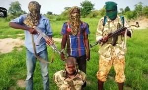 Boko-Haram militants and suspected military captive