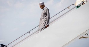 President Buhari at the Joint Base Andrews Airport in Washington, DC.