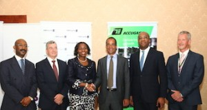 L- R- Director/Head, Debt Solutions, FBN Capital Limited , Patrick Mgbenwelu; Chief Financial Officer, SevenEnergy, Bruce Burrows; Group Executive, Institutional Banking, FirstBank, Bashirat Odunewu; Managing Director, Seven Energy, Philip Ihenacho; Managing Director, FBN Capital Limited, Kayode Akinkugbe; and Managing Director, Accugas, Stephen Teerney, at AccugasIV Signing Ceremony in Lagos on Wednesday.