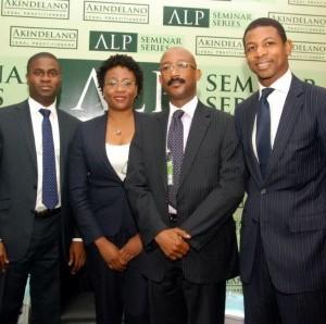 L-R Kalu Balogun PWC, Bola Bamidele Access Bank, Patrick Mgbenwelu Head Debt Solutions FBN Capital, John Delano LL.B at the recently held ALP Seminar Series on Infrastructure and Project Finance