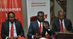 Group Managing Director/CEO, UBA Plc, Mr. Phillips Oduoza (Centre) flanked by Divisional Head, IT Project Management, Mr. Lanre Bamisebi and Director, Information Technology, UBA Plc, Mr Rasheed Adegoke during the press launch of the Bank's simplified solution for Biometric Verification Numbers (BVN) registration, in Lagos on Monday