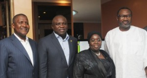 Lagos State Governor, Mr. Akinwunmi Ambode (2nd left), his Deputy, Dr. (Mrs.) Oluranti Adebule (2nd right), President/C.E.O, Dangote Group of Companies, Alhaji Aliko Dangote (left) and Chairman, Forte Oil, Mr. Femi Otedola (right) during a 'Dinner with His Excellency' organized by the Lagos State Security Trust Fund (LSSTF) at Ademola Adetokunbo Street, Victoria Island, on Thursday