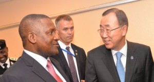 Dangote engaging the United Nations Secretary General, Ban Ki-Moon during a meeting in Abuja on Monday