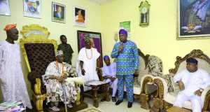 Akinwunmi Ambode at the Palace of Oba of Epe, along with Senator Adeola