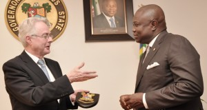 Lagos State Governor, Mr. Akinwunmi Ambode (right) in warm handshake with the Ambassador of Republic of Germany to Nigeria, Mr. Michael Zenner (left) during his courtesy visit to the Governor, at the Lagos House, Ikeja, on Monday