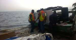 Boat accident scene in Lagos
