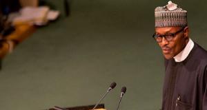 Buhari addressing the United Nations
