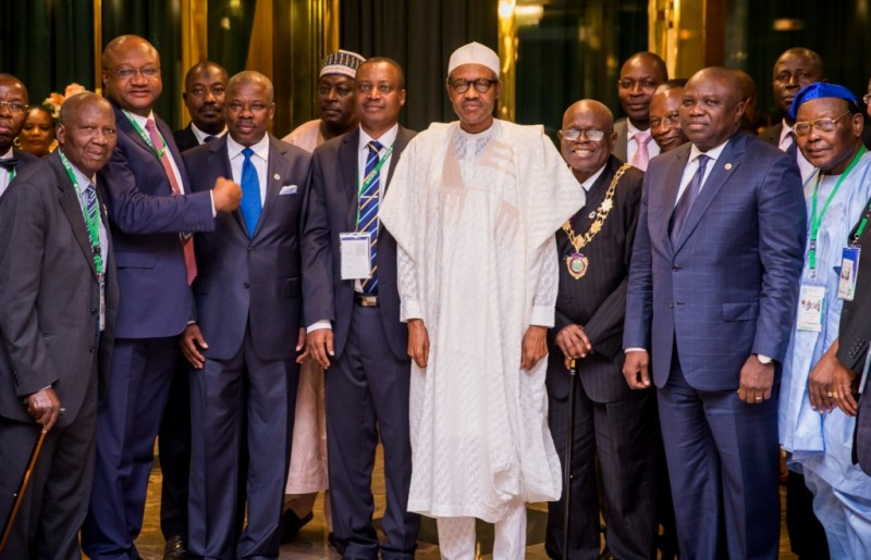 President, Institute of Chartered Accountants of Nigeria, ICAN, Otunba Samuel Olufemi Deru (3rd right), President Muhammadu Buhari (4th right), Ogun State Governor, Senator Ibikunle Amosun (3rd left) with other ICAN council members during a courtesy visit to the President by ICAN at the Aso Villa, Abuja