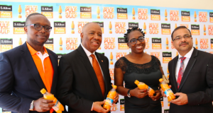 Vincent Emokpaire, Stills Business Manager, Coca-Cola; Emmanuel N. Nnorom CEO, Transcorp Plc; MD, T-One Distribution; Prahlad Gangadharan Director of Stills, NBC during yesterday's launch of Five Alive Pulpy Orange, a new juice line made with concentrate from Transcorp agribusiness subsidiary Teragro Commodities Ltd.