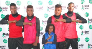 Sunday Aguda, Samson Ojo, Samson Oladipupo, Olaniyi Olumide and Obaleye Tunde, all members of the dance group, Expression, at the Port Harcourt audition of the Glo-sponsored Dance with Peter on Thursday night.