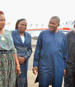 Dangote and other officials in Tanzania