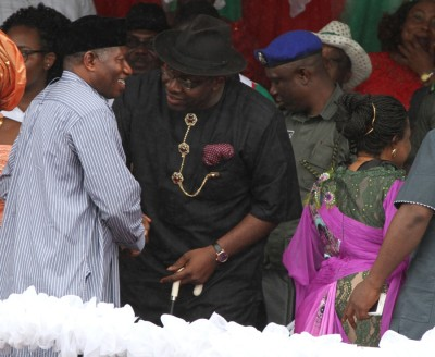 Bayelsa State Governor, Hon. Seriake Dickson (centre) welcomes the former President, Dr. Goodluck Jonathan (centre) accompanied by his wife, Patience (right backing camera) shortly on his arrival to attend the Governor declaration for 2nd term at the Sampson Sia-Sia Sport Complex in Yenagoa today (Tuesday) September 8 2015