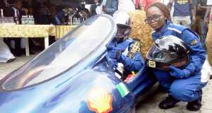 Students of the Federal University of Petroleum Resources, Effurun, Delta State, demonstrating their self-built energy-efficient car, Delta Cruz, on their campus last Thursday in readiness for the 2015 Shell Eco-marathon competition in South Africa, in October.