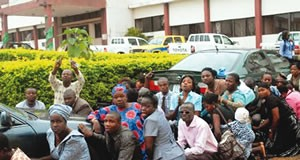 Ekiti-workers caught by Gov. Fayose for coming late