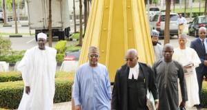Former NSA, Sambo Dasuki and his lawyer in court
