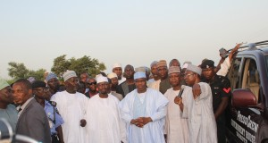 Gov. Tambuwal and other officials during the visit to the flood ravaged areas
