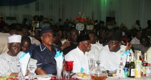 RL: Bayelsa State Governor, Hon. Seriake Dickson; President Goodluck Jonathan form; Acting National Chairman of the Peoples Democratic Party (PDP), Prince Uche Secondus and train Chairman, Board of Trustees (BoT) of the PDP, Chief Tony Anenih, During The PDP Stakeholders' Interactive Forum / Dinner at the Banquet Hall, Government House, Yenagoa.