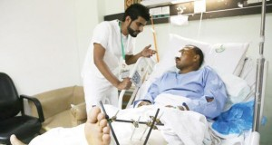 One of the crash victims being attended to in Saudi Hospital
