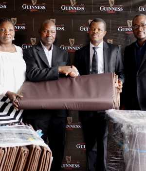 L-R Head, Fundrasing, Toyin Ekpeneidua; Director, Finance & Operations, ActionAid, Oluwole Elegbede; Corporate Relations Director, Guinness Nigeria Plc, Sesan Sobowale and Sustainable Development Manager, Osita Abana at the handover of Mattresses for Internally Displaced Persons donated by Guinness Nigeria to ActionAid which held today at the Guinness Nigeria Headquarters, Ikeja