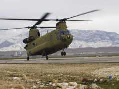 A CH-47F Chinook helicopter