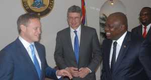 Lagos State Governor, Mr. Akinwunmi Ambode with British Deputy High Commissioner to Nigeria, Mr. Ray Kyles and British Minister of State for Foreign, Commonwealth Affairs and DFID, Mr. Grant Shapps, during a courtesy visit to the Governor, at the Lagos House, Marina, on Wednesday,