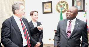 Lagos State Governor, Mr. Akinwunmi Ambode (right) discussing with Ambassador of Italy to Nigeria, Mr. Fulvio Rustico (left) and Deputy, First Counselor, Embassy of Italy, Mr. Luca Attanasio (middle), during a courtesy visit to the Governor, at the Lagos House, Ikeja, on Tuesday,