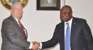 Lagos State Governor, Mr. Akinwunmi Ambode (right), in a warm handshake with the Ambassador of United States of America, Mr. James Entwistle, during his courtesy visit to the Governor,
