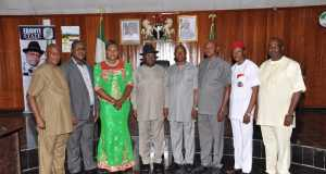 Governor David Umahi of Ebonyi State (4th left) with members of the State Internal Revenue Board after their swearing in at the Government House, Abakaliki on Friday